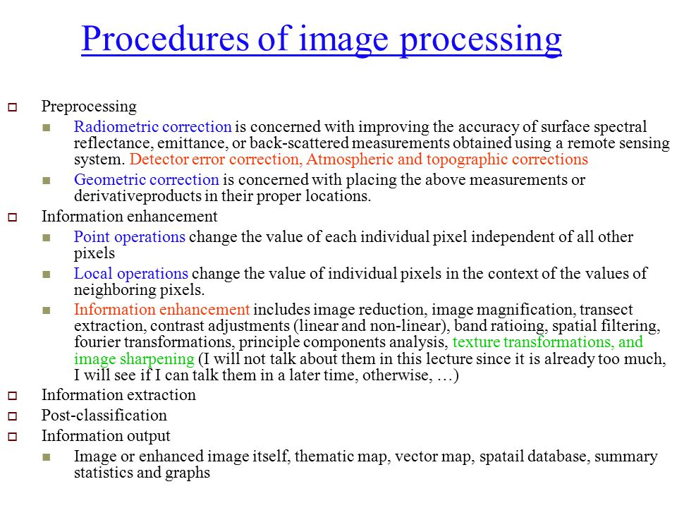 Procedures of image processing