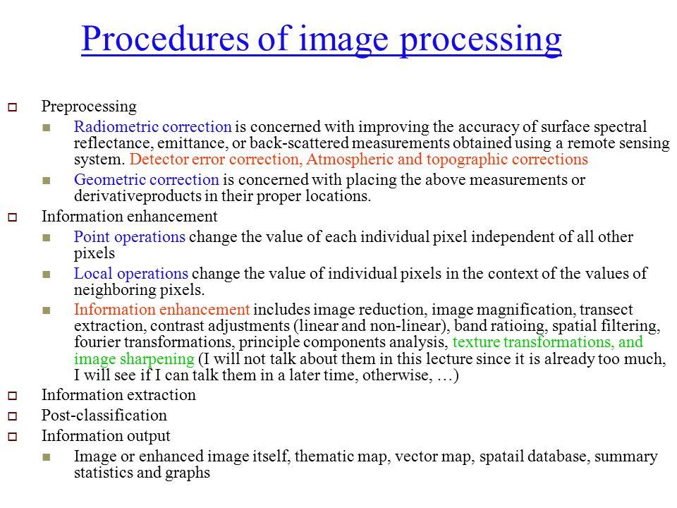 Procedures of image processing