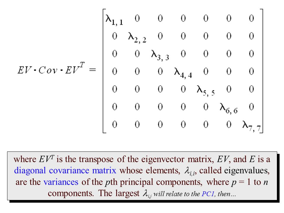 where EVT is the transpose of the eigenvector matrix, EV, and E is a diagonal covariance matrix whose elements, li,i, called eigenvalues, are the variances of the pth principal components, where p = 1 to n components.