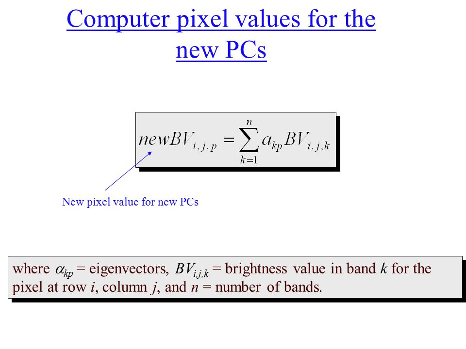 Computer pixel values for the new PCs