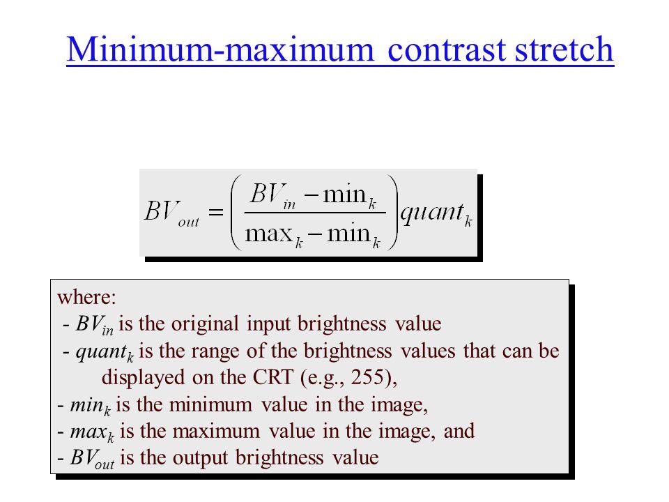 Minimum-maximum contrast stretch