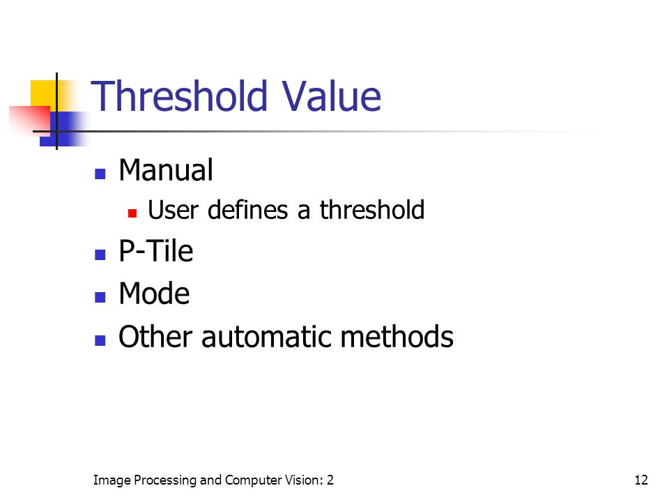 Threshold Value Manual P-Tile Mode Other automatic methods