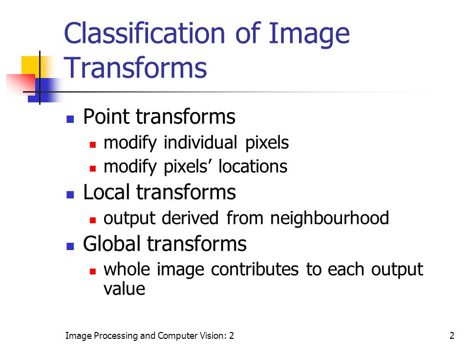 Classification of Image Transforms