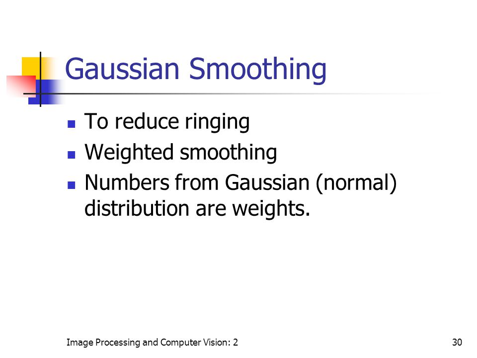 Gaussian Smoothing To reduce ringing Weighted smoothing
