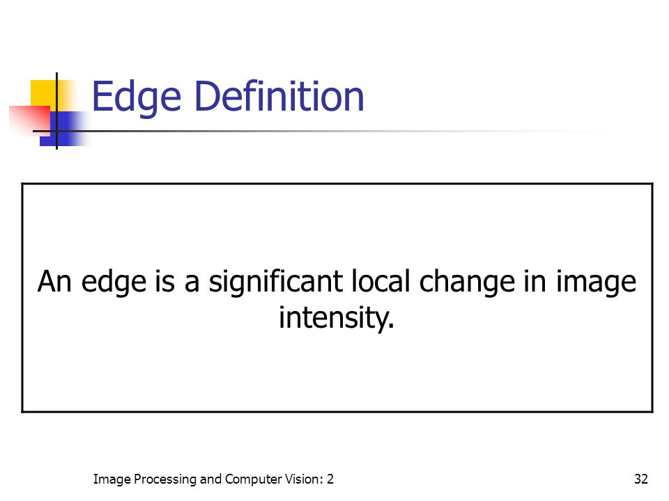 An edge is a significant local change in image intensity.