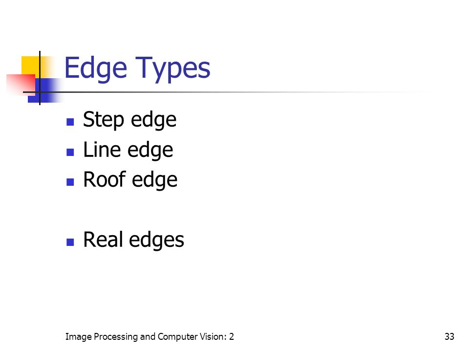 Edge Types Step edge Line edge Roof edge Real edges