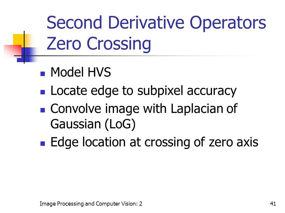 Second Derivative Operators Zero Crossing