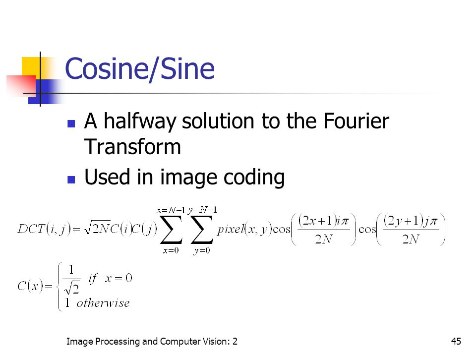 Cosine/Sine A halfway solution to the Fourier Transform