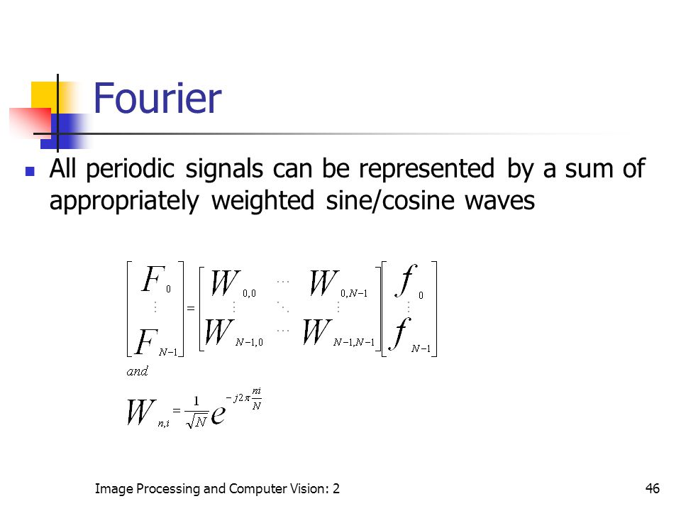 Fourier All periodic signals can be represented by a sum of appropriately weighted sine/cosine waves.