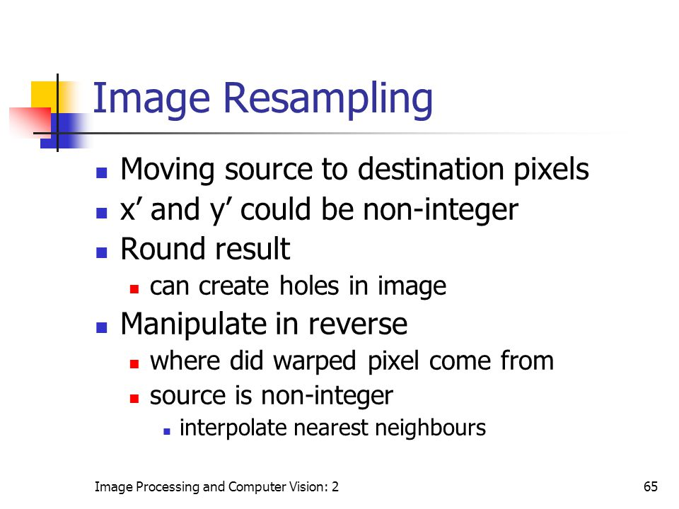 Image Resampling Moving source to destination pixels
