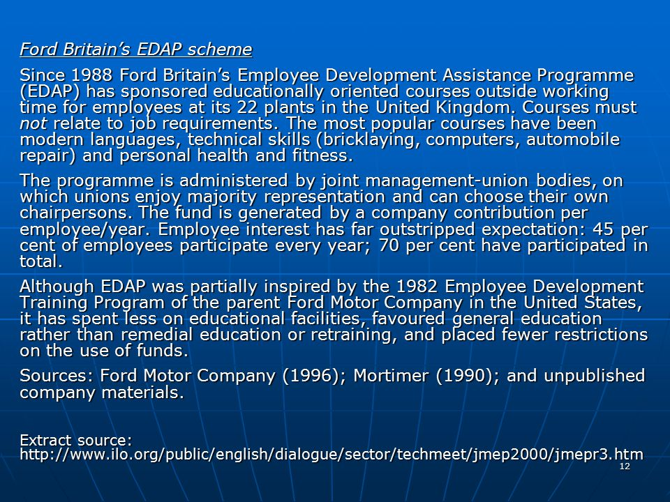 Ford Britain's EDAP scheme