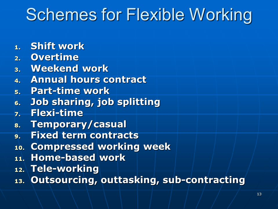 Schemes for Flexible Working