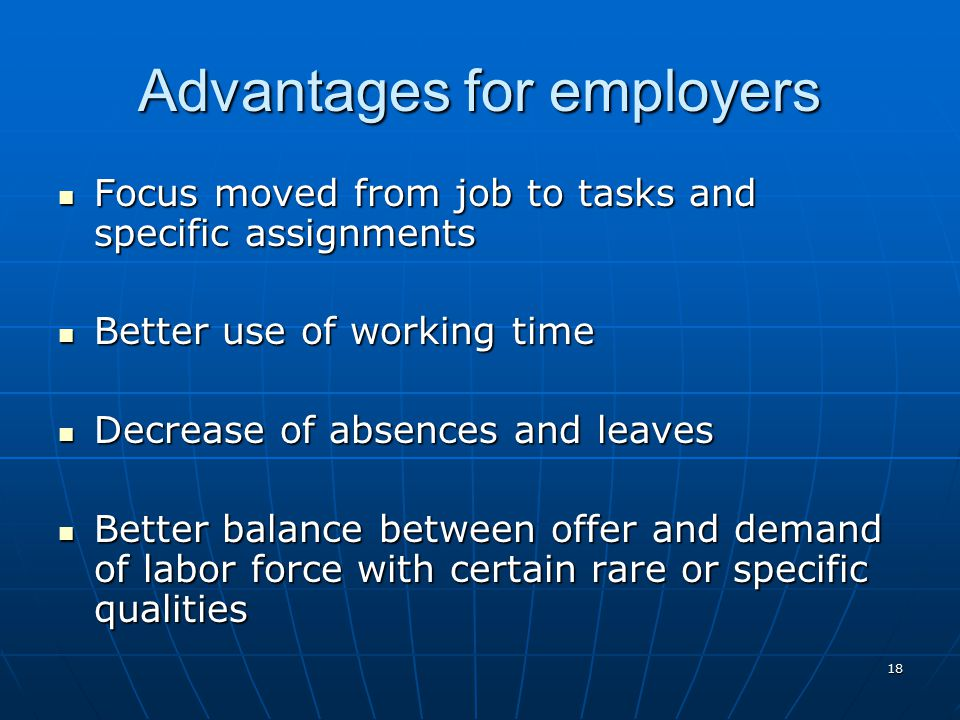 Advantages for employers