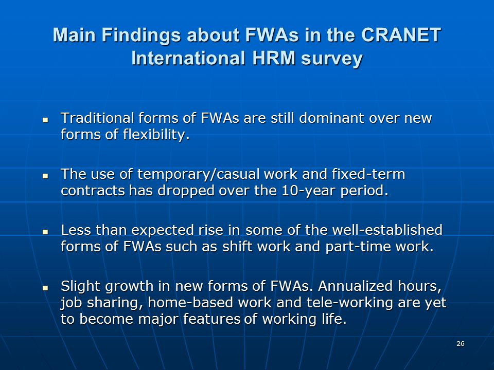 Main Findings about FWAs in the CRANET International HRM survey