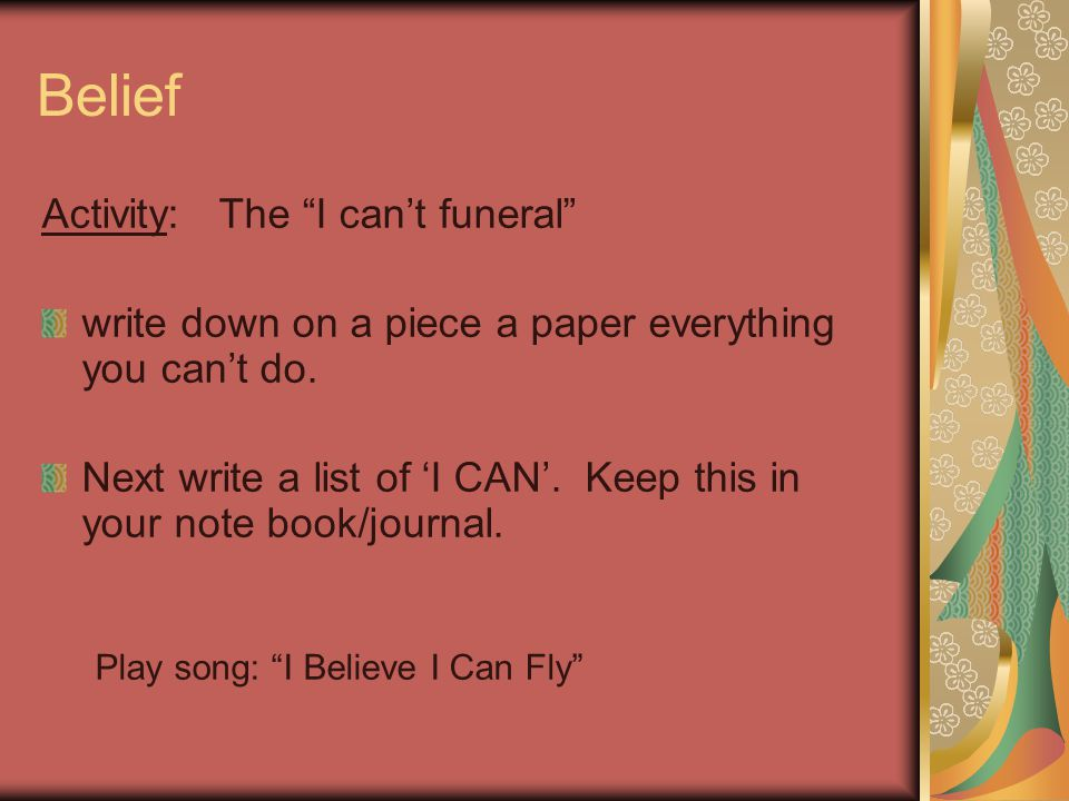 Belief Activity: The I can't funeral