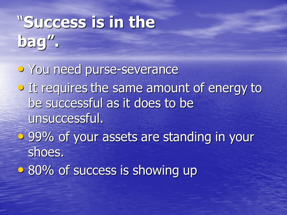 Success is in the bag . You need purse-severance