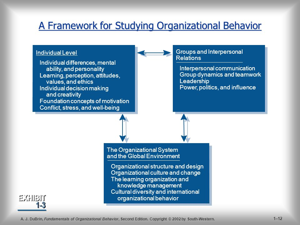 A Framework for Studying Organizational Behavior