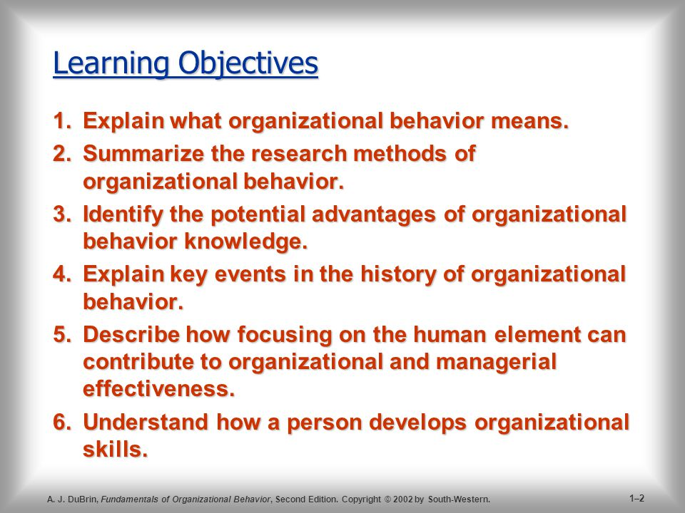 Learning Objectives Explain what organizational behavior means.