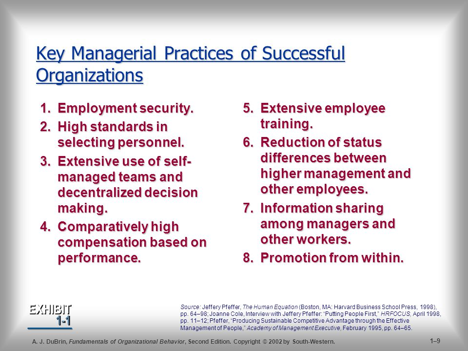 Key Managerial Practices of Successful Organizations
