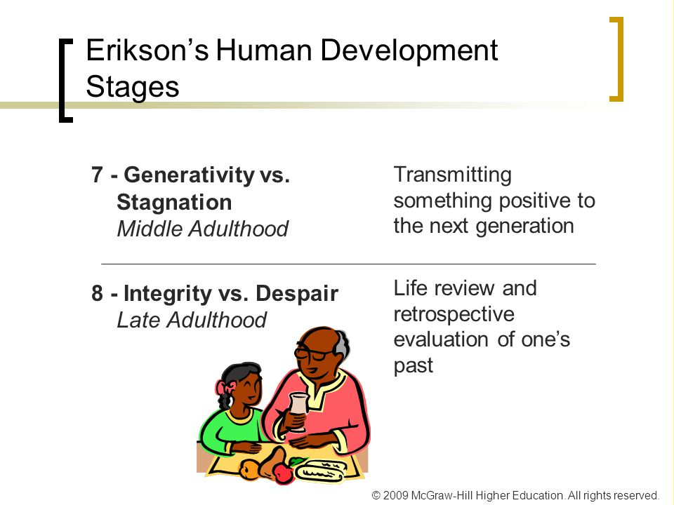 middle adulthood generativity vs stagnation Erikson's stages of psychosocial development  the stages of psychosocial development articulated by erik erikson  generativity vs stagnation middle adulthood.