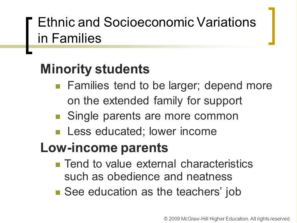 Ethnic and Socioeconomic Variations in Families