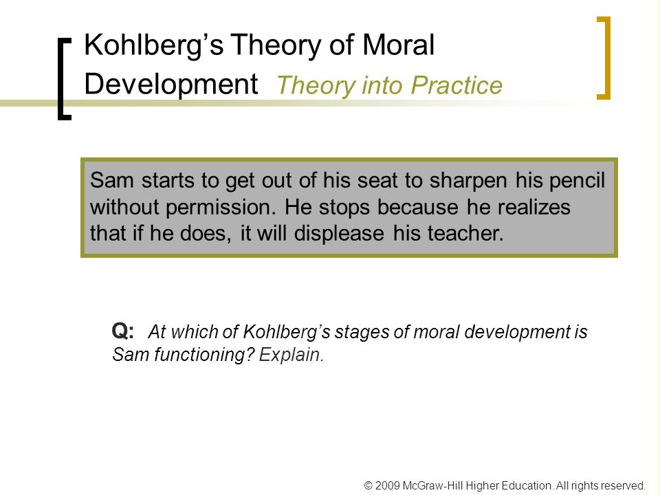 Kohlberg's Theory of Moral Development Theory into Practice