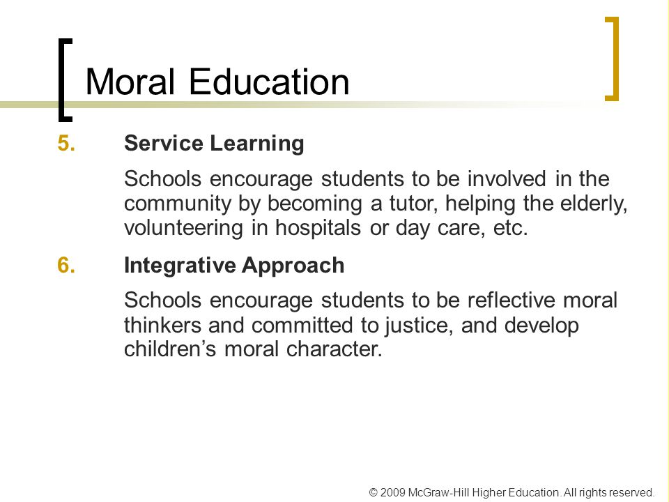 Moral Education 5. Service Learning.