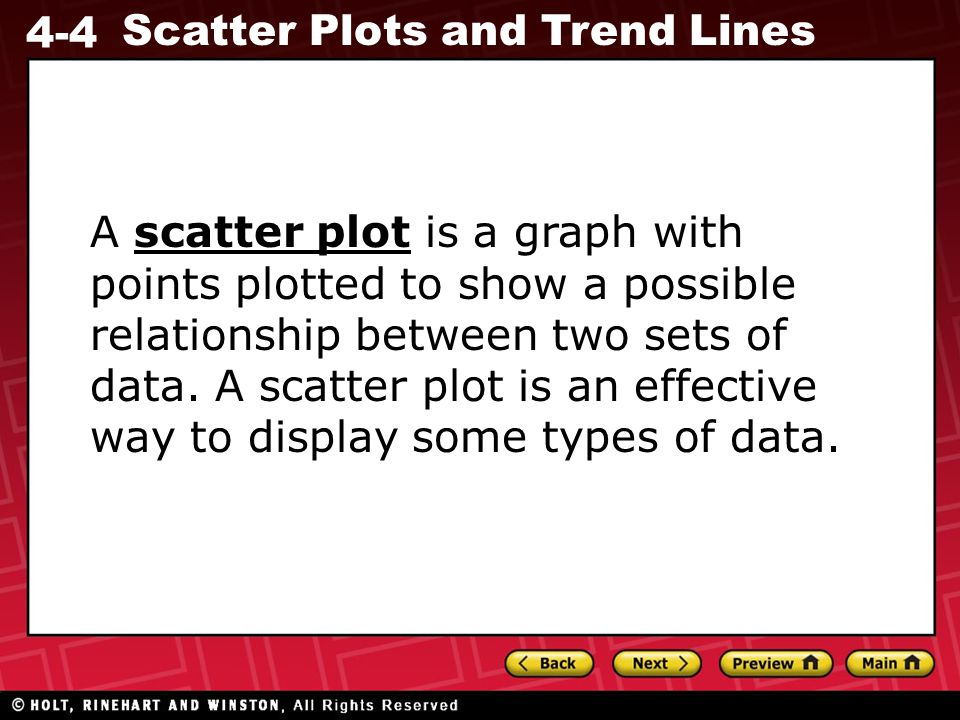 A scatter plot is a graph with points plotted to show a possible relationship between two sets of data.