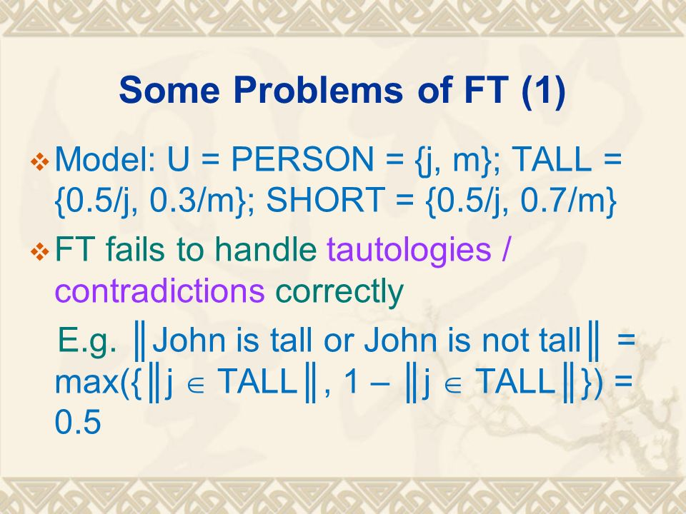 Some Problems of FT (1) Model: U = PERSON = {j, m}; TALL = {0.5/j, 0.3/m}; SHORT = {0.5/j, 0.7/m}