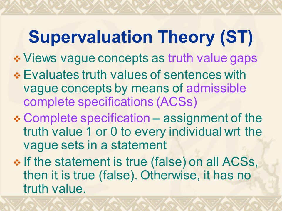 Supervaluation Theory (ST)