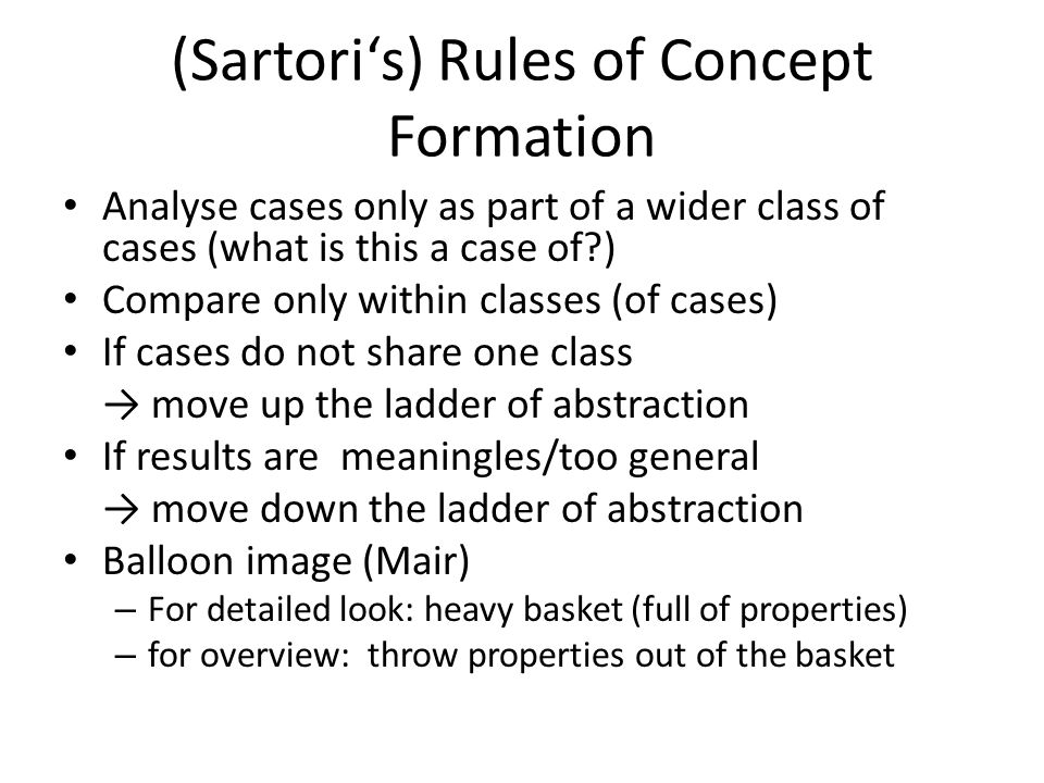 (Sartori's) Rules of Concept Formation