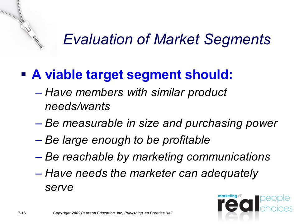 Evaluation of Market Segments