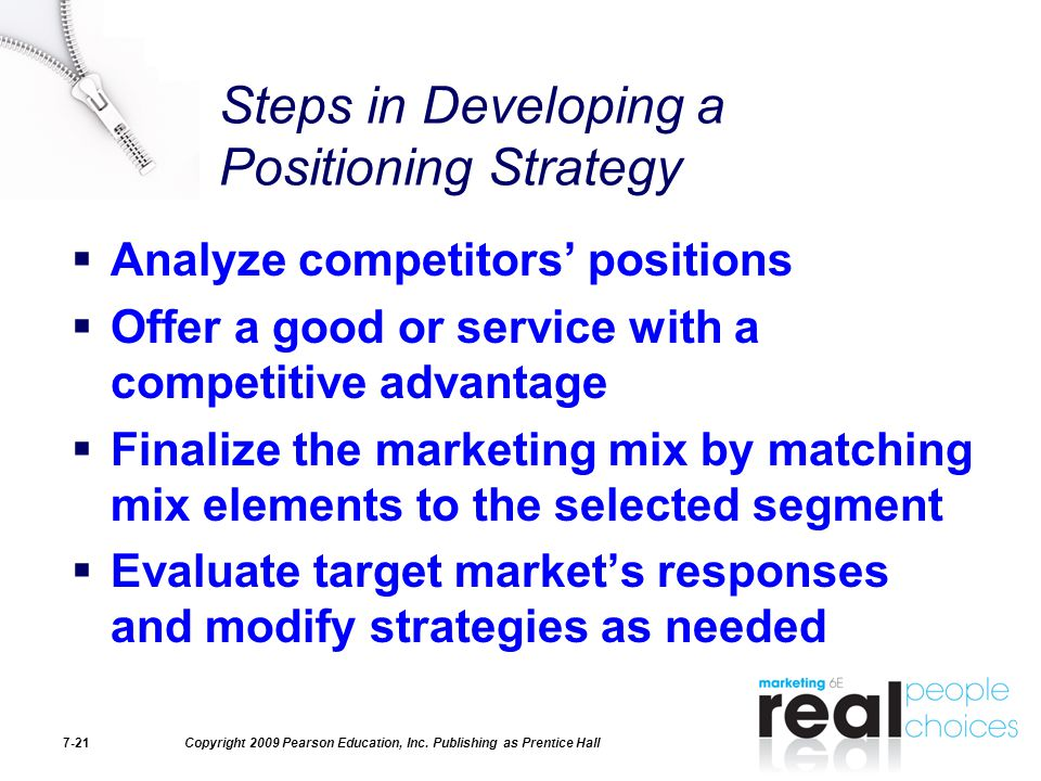 Steps in Developing a Positioning Strategy