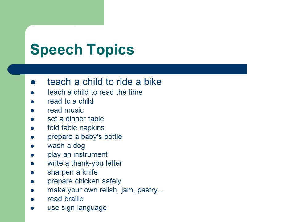 Speech Topics teach a child to ride a bike