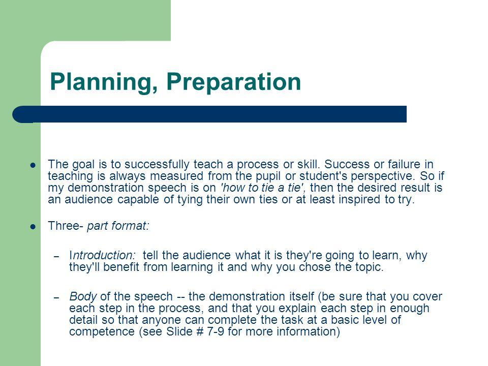Planning, Preparation