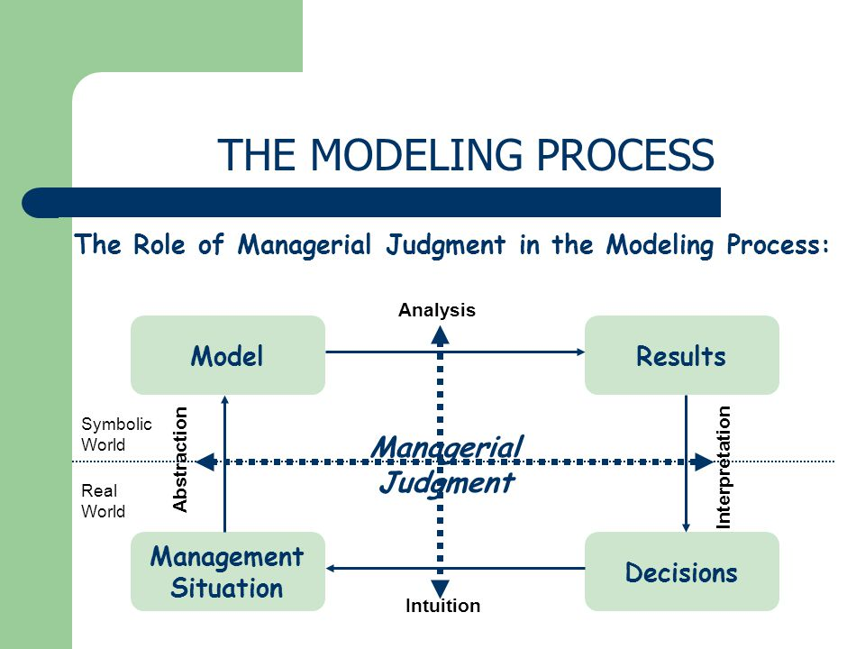 THE MODELING PROCESS Managerial Judgment