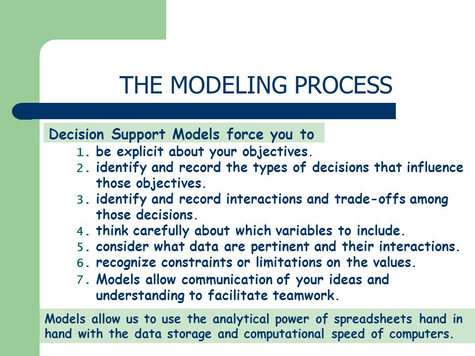 THE MODELING PROCESS Decision Support Models force you to