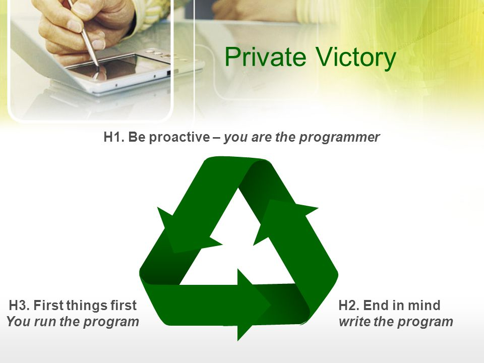 H1. Be proactive – you are the programmer