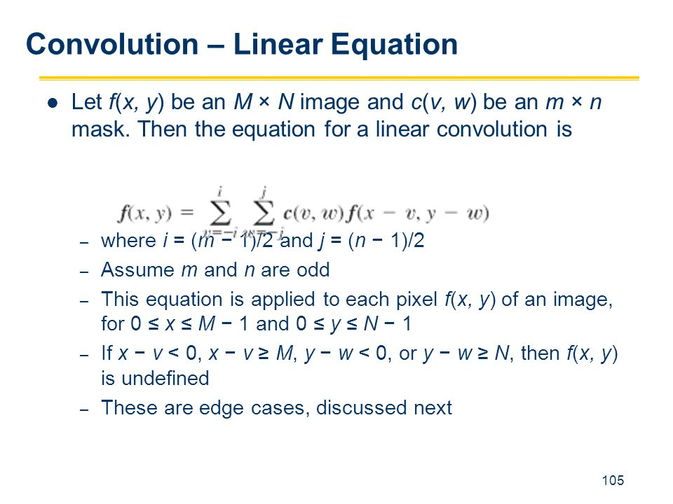 Convolution – Linear Equation