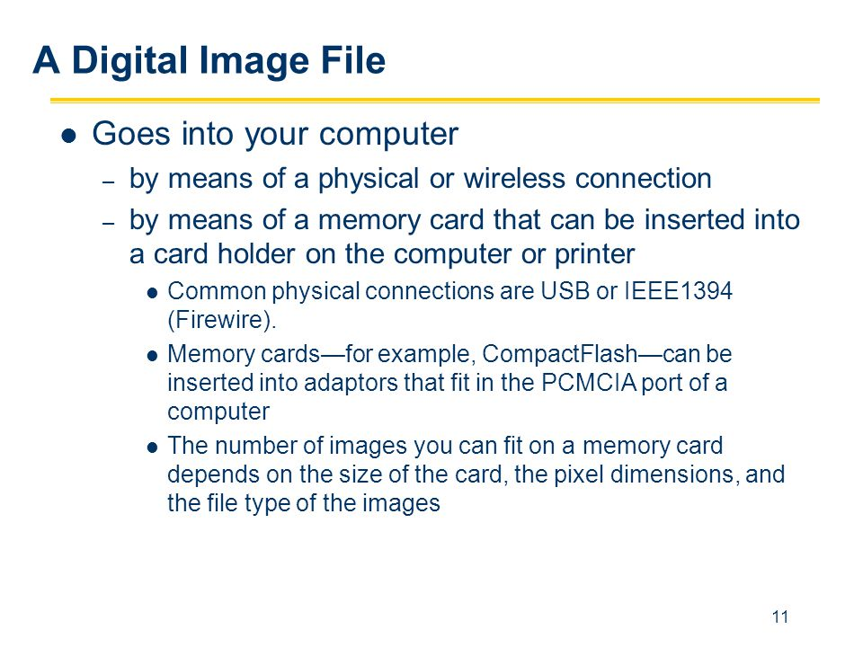A Digital Image File Goes into your computer