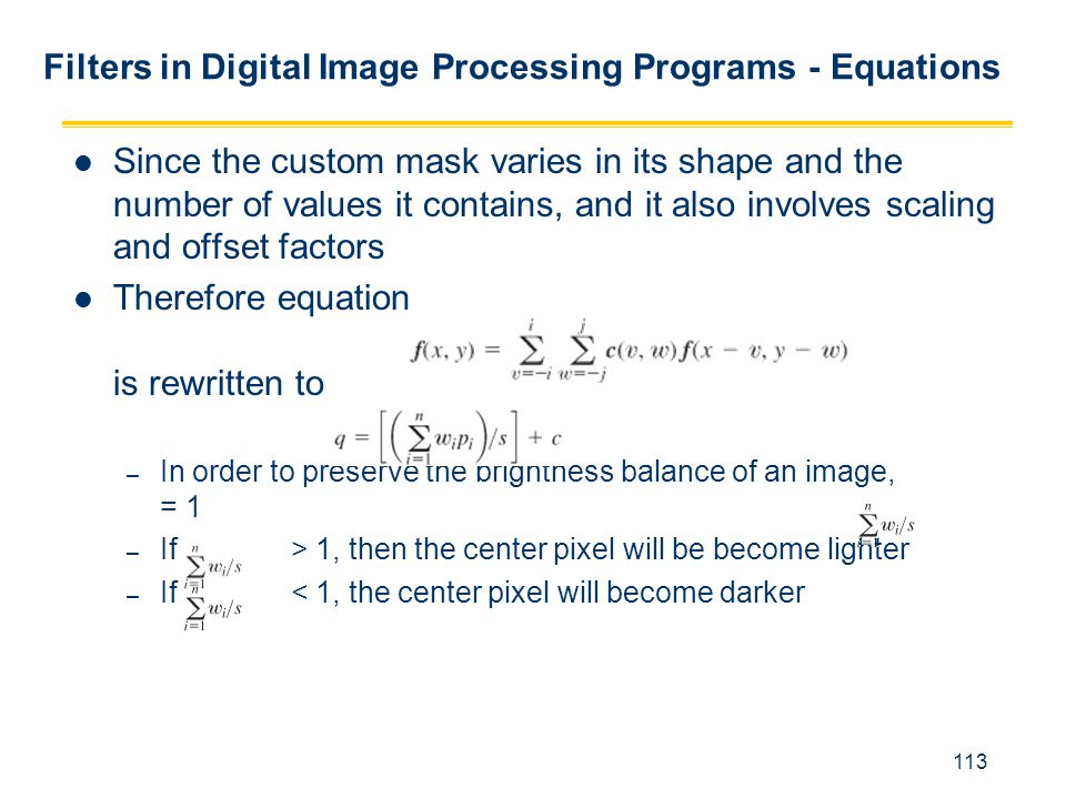 Filters in Digital Image Processing Programs - Equations