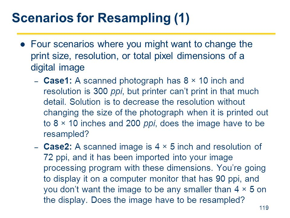Scenarios for Resampling (1)