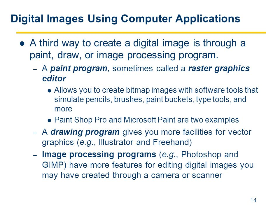 Digital Images Using Computer Applications