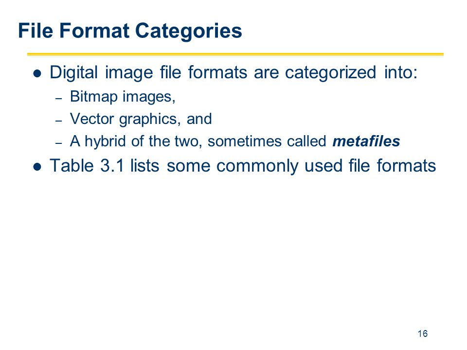File Format Categories
