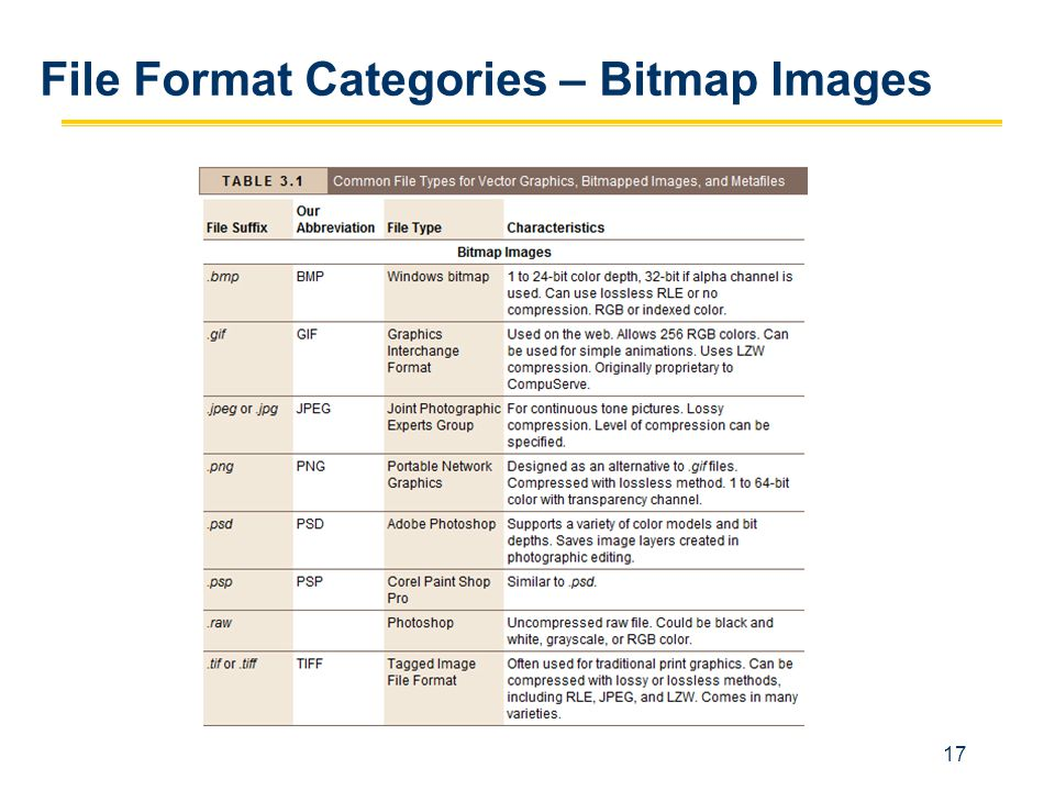 File Format Categories – Bitmap Images