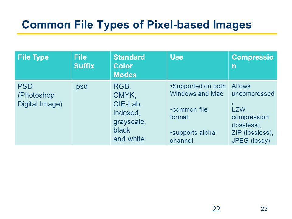 Common File Types of Pixel-based Images