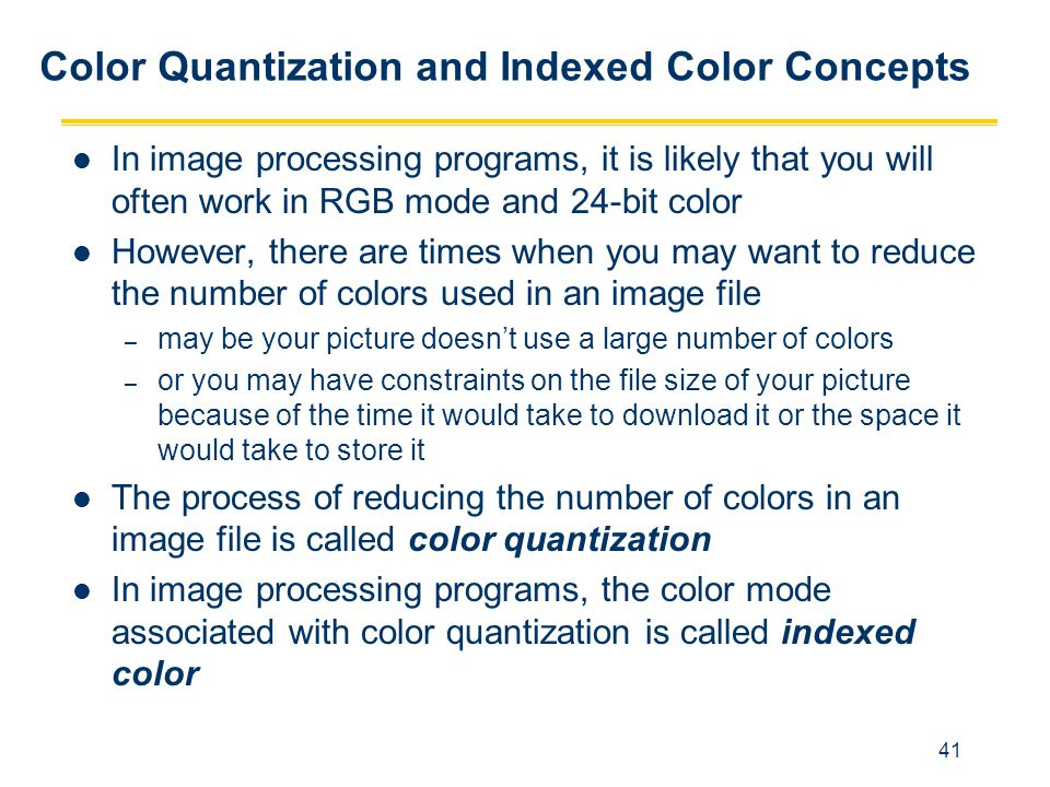 Color Quantization and Indexed Color Concepts
