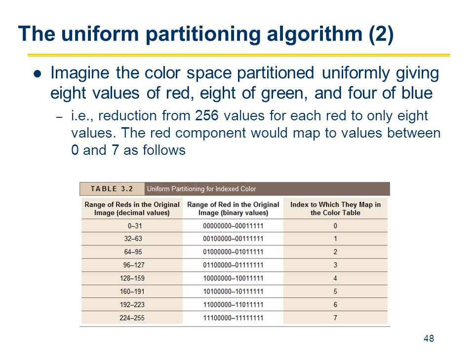 The uniform partitioning algorithm (2)