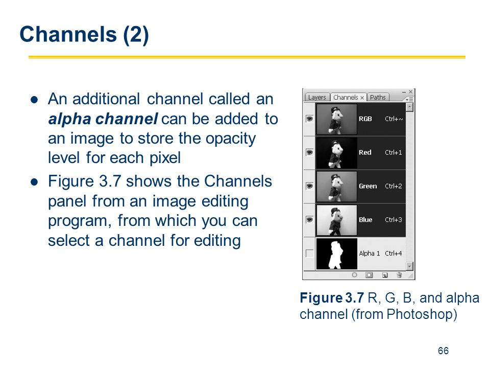Channels (2) An additional channel called an alpha channel can be added to an image to store the opacity level for each pixel.