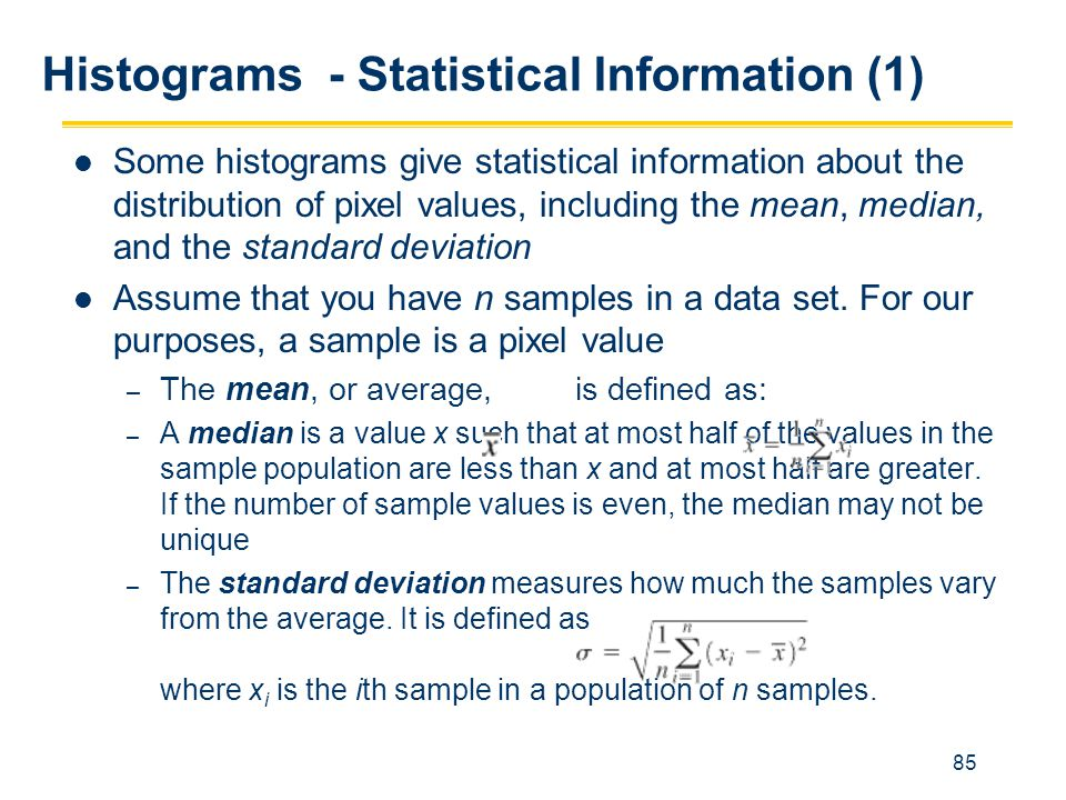 Histograms - Statistical Information (1)